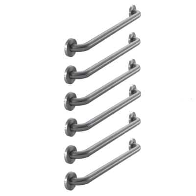 24 in. x 1-1/4 in. Concealed Screw Grab Bar Combo in Brushed Stainless Steel (6-Pack)
