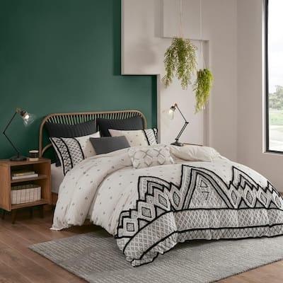 Marta 3-Piece Natural Print Cotton and Flax Linen Blend King/Cal King Comforter Set