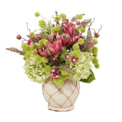 25 in. L Mixed Flower Arrangement in a Ceramic Vase