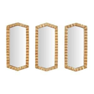 Small Hexagonal Gold Textured Classic Accent Mirror - Set of 3 (14 in. H x 7 in. W)