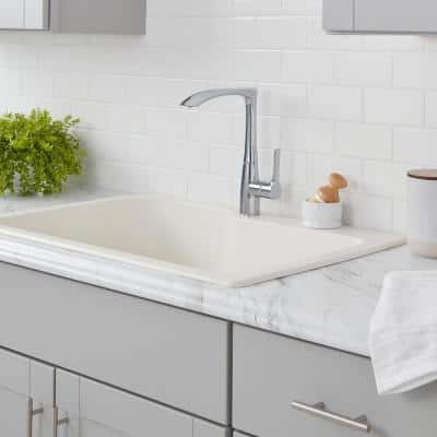 Menlo Contemporary Single-Handle High-Arc Standard Kitchen Faucet in Chrome