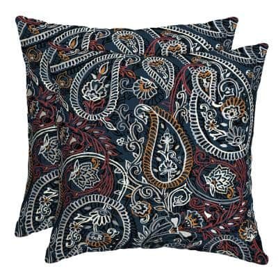 16 in. x 16 in. Palmira Paisley Outdoor Throw Pillow (2-Pack)