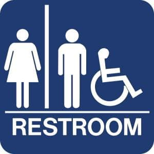 8 in. x 8 in. Blue Plastic with Braille Restroom - Accessible Sign