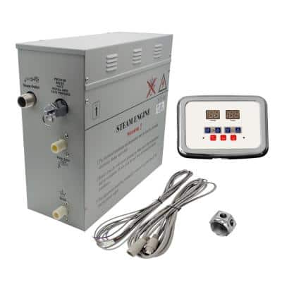 6kW Self-Draining Steam Bath Generator with Waterproof Programmable Controls and Chrome Steam Outlet