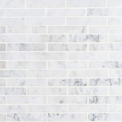Big Brick White Carrera 12 in. x 12 in. x 8 mm Mosaic Marble Floor and Wall Tile