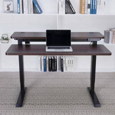 47 in. Rectangular Dark Espresso Desk Components with Adjustable Height