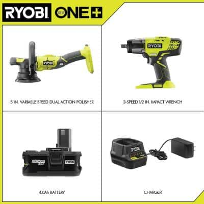 ONE+ 18V 5 in. Variable Speed Dual Action Polisher with ONE+ 18V Cordless 3-Speed 1/2in. Impact Wrench, Battery, Charger