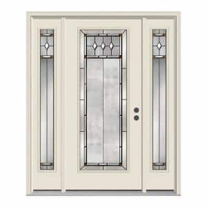 Mmi Door 64 5 In X 81 75 In Heirlooms Right Hand Inswing Oval Lite Decorative Painted Steel Prehung Front Door With Sidelites Z002588r The Home Depot