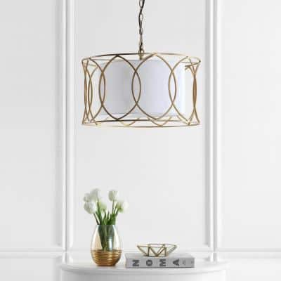 Silas 1-Light Gold Adjustable Cage Drum Pendant