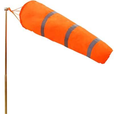 30 in. x 8 in. Orange Nylon Windsock Rip-Stop Wind Direction Measurement Sock Bag with Reflective Belt