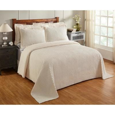 Jullian Collection 2-Piece Ivory Twin 100% Cotton Tufted Unique Luxurious Bedspread Set