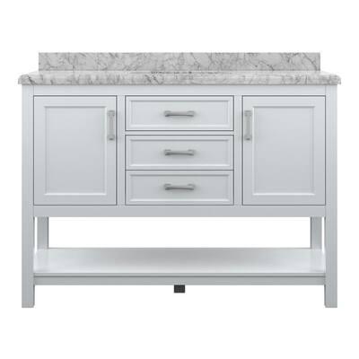 Everett 49 in. W x 22 in. D Vanity Cabinet in White with Carrara Marble Vanity Top in White with White Basin