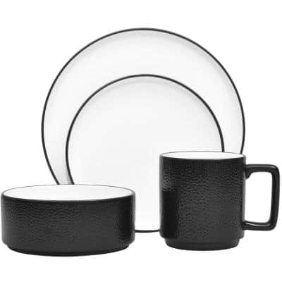 Colortex Stone White Porcelain 4-Piece Place Setting (Service for 1)