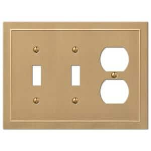 Bethany 3 Gang 2-Toggle and 1-Duplex Metal Wall Plate - Brushed Bronze