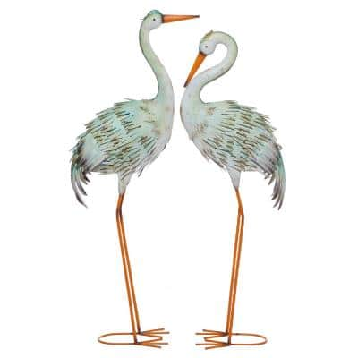 39 in. and 41 in. Tall Multi-Colored Crane Metal Garden Statues (Set of 2)
