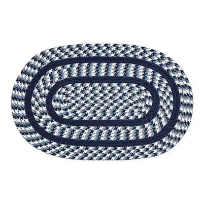 Crecent Braid Collection is Durable and Stain Resistant Reversible Navy 5 ft. x 8 ft. Oval Polypropylene Area Rug