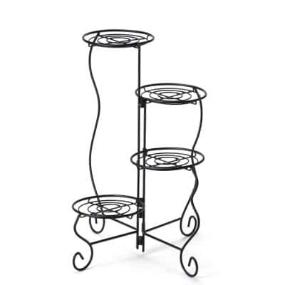11 in. x 9 in. x 27 in. 4-Tier Metal Plant Stand Flower Pot Holder