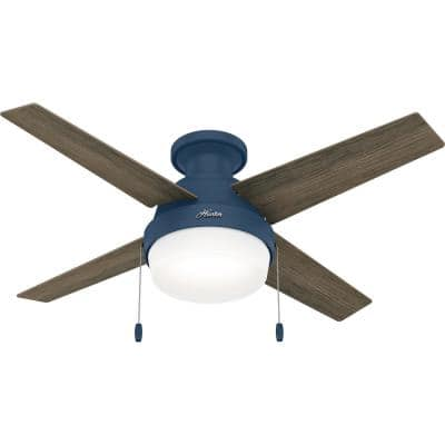 Ristrello 44 in. Indoor Indigo Blue Low Profile Ceiling Fan with Light Kit