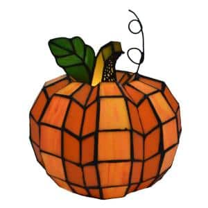 9 in. Orange Indoor Patch the Pumpkin Stained Glass Accent Lamp