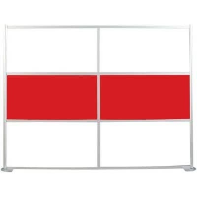 100-1/8 in. x 75-3/8 in. uDivide Room Divider Satin Clear Frame with White and Red 6-Panels