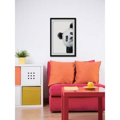 """45 in. H x 30 in. W """"Peekaboo Panda"""" by Marmont Hill Framed Wall Art"""