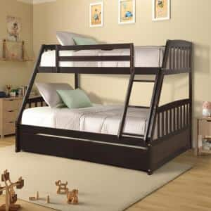 Espresso Solid Wood Twin Over Full Bunk Bed with 2-Storage Drawers