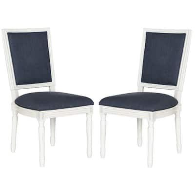 Buchanan Navy and Cream Linen Dining Chair (Set of 2)