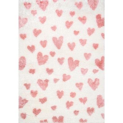 Alison Heart Shag Pink 9 ft. x 12 ft. Area Rug