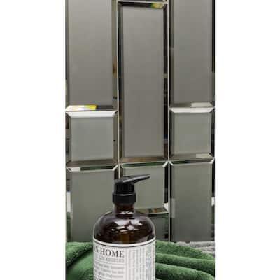 Reflekt Dark Gray Splitface 4 in. x 12 in. Frosted Glass Tile (15-piece, 5 sq. ft./case)