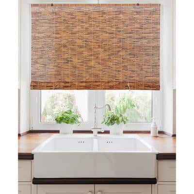 60 in W x 72 in L Light-Filtering Natural Bamboo Reed Roman Shades Manual Roll-Up Window Blinds, Chocolate