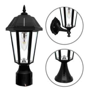 Topaz Outdoor Black Solar Integrated LED Post Light with 3 Mounting Options and GS Solar LED Light Bulb