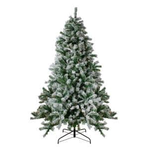 6.5 ft. Pre-Lit Flocked Winter Park Fir Artificial Christmas Tree with Clear Lights