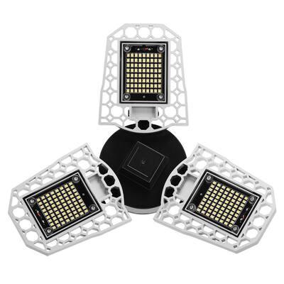 11.81 in. 3-Light 600-Watt Equivalent Deformable LED Adjustable Garage Light, 7200LM, 6000K Daylight White (2-Pack)