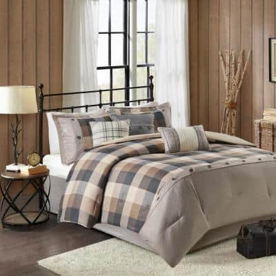 Pioneer Neutral 7-Piece Plaid Polyester King Herringbone Comforter Set