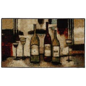 Wine and Glasses Brown 1 ft. 8 in. x 3 ft. 9 in. Machine Washable Kitchen Rug