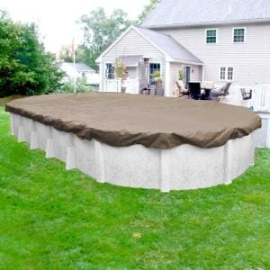 Sandstone 18 ft. x 33 ft. Oval Sand Solid Above Ground Winter Pool Cover