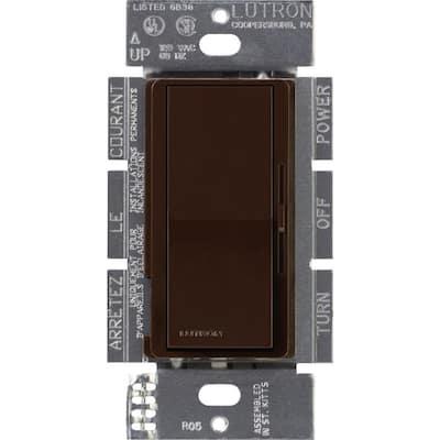 Diva Dimmer for 0-10V LED/Fluourescent Fixtures, 8-Amp, Single-Pole or 3-Way, Brown