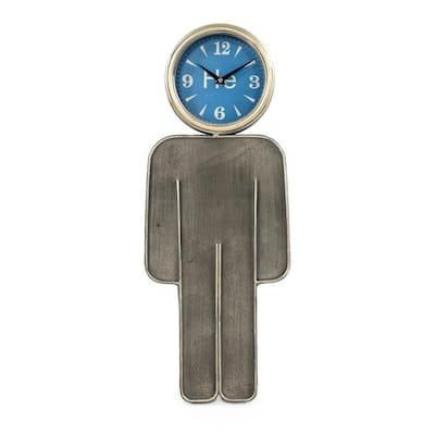 Blue Faced Boy Rustic Metal Contemporary Clock