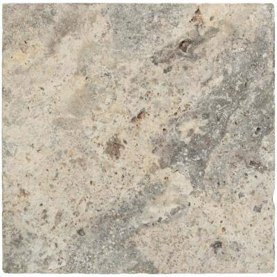 Silver Tumbled Travertine 16 in. x 16 in. Gray Paver Tile (60 Pieces/106.8 Sq. Ft./Pallet)