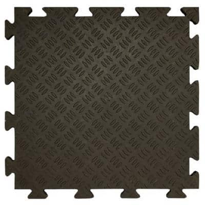 Fitness Tiles 18.5 in. W x 18.5 in. L Interlocking PVC Tiles with Edging for 1 Side (Approximately 39.05 sq. ft.)