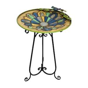 30 in. Tall Outdoor Mosaic Style Metal Birdbath Bowl with Bird Figurine