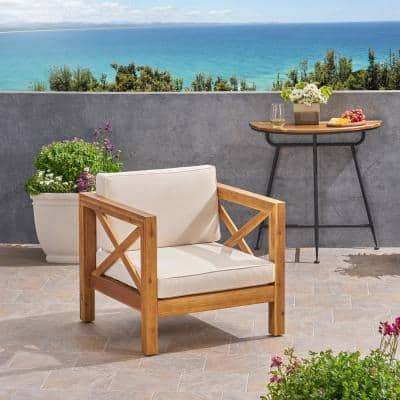 Brava Teak Brown Removable Cushions Wood Outdoor Lounge Chair with Beige Cushions