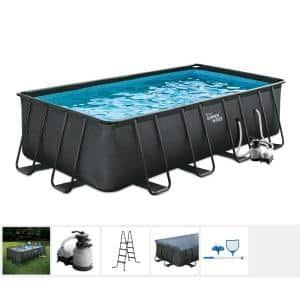 Black Basketweave 18 ft. x 9 ft. Rectangle 52 in. D Elite Metal Frame Pool Package with Sand Filter Pump