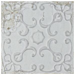 Aevum White Ornato 7-7/8 in. x 7-7/8 in. Ceramic Wall Tile (9.63 sq. ft. / case)