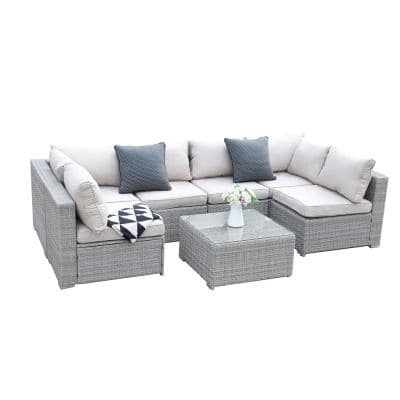 Light Gray 7-Pieces Wicker Rattan Outdoor Combination Sofa Set Leisure Living Room Furniture Set with Beige Cushions