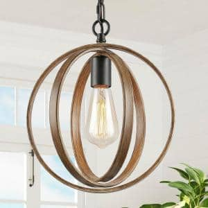 Lora 1-Light Black Modern Farmhouse Pendant Light with Faux Wood Accents Black Chandeliers for Dining Room