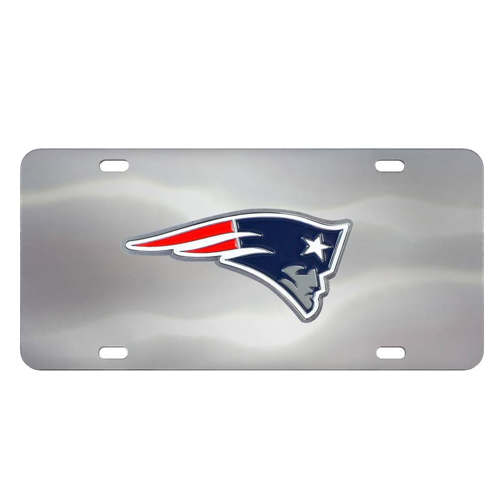 FANMATS 6 in. x 12 in. NFL - New England Patriots Stainless Steel Die Cast License Plate