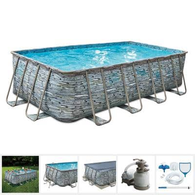 9 ft. x 18 ft. Rectangular 52 in. Deep Elite Metal Frame Pool with Sand Filter, Cover, Ladder, Maintenance Kit