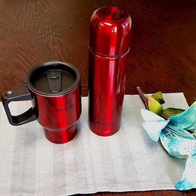 Javelin 16 oz. Red Double Wall Thermos and Travel Mug Gift Set