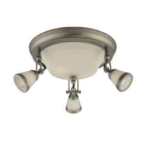14 in. 5-Light Antique Pewter Semi-Flush Mount with Frosted Glass Shades